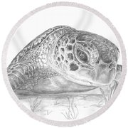 A Green Sea Turtle Grayscale Round Beach Towel