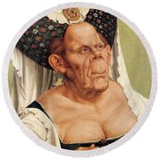 A Grotesque Old Woman Round Beach Towel
