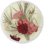 A Group Of Clove Carnations Round Beach Towel