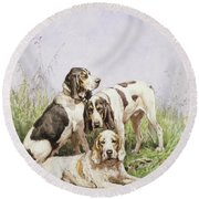 A Group Of French Hounds Round Beach Towel