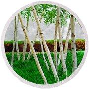 A Grove Of Birches 1 Round Beach Towel