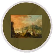A Harbour View Round Beach Towel