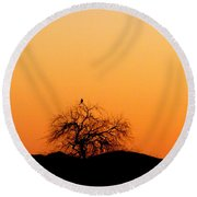 A Hawk At Sunset Round Beach Towel