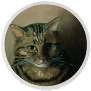 A Head Study Of A Tabby Cat Round Beach Towel