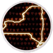 A Heart In New York Round Beach Towel