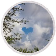 A Heart In The Sky Round Beach Towel