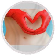 A Heart Of Red Leather Round Beach Towel