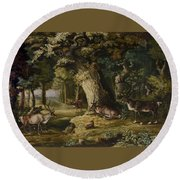 A Herd Of Stag And A Fawn In A Woodland Landscape Round Beach Towel