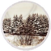 A Herd Of Trees Round Beach Towel