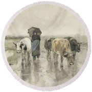 A Herdess With Cows On A Country Road In The Rain Round Beach Towel