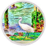 a heron is walking on a stair about the Grand Canal Round Beach Towel