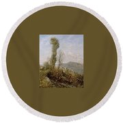 A Hillside Village In Provence Henry Herbert La Thangue Round Beach Towel