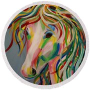 A Horse Of A Different Color Round Beach Towel