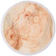 a Horse's Head Round Beach Towel