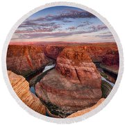 A Horseshoe Bend Morning  Round Beach Towel