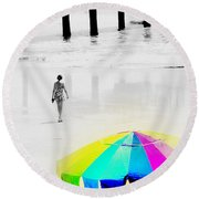 A Hot Summer Day Round Beach Towel