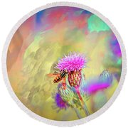 A Hoverfly On Abstract #h3 Round Beach Towel