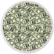 A Hundred Dollar Bill Banknotes Round Beach Towel