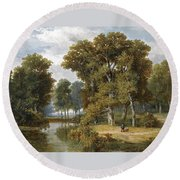 A Hunter And An Angler In A Wooded Landscape Round Beach Towel