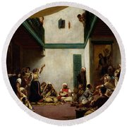 A Jewish Wedding In Morocco Round Beach Towel by Ferdinand Victor Eugene Delacroix