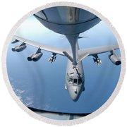 A Kc-135 Stratotanker Refuels A B-52 Round Beach Towel by Stocktrek Images