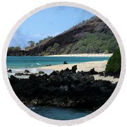 A L O H A  E Ala E Puu Olai Oneloa Big Beach Makena Maui Hawaii Round Beach Towel