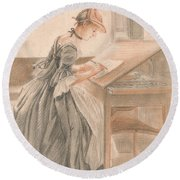 A Lady Copying At A Drawing Table Round Beach Towel