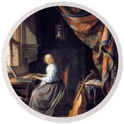 A Lady Playing The Clavichord Round Beach Towel