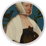 A Lady With A Squirrel And A Starling Anne Lovell Round Beach Towel