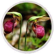 A Lady's Slippers Round Beach Towel