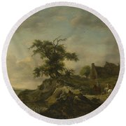 A Landscape With A Farm On The Bank Of A River Round Beach Towel
