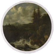 A Landscape With A Waterfall And A Castle On A Hill Round Beach Towel