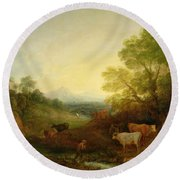 A Landscape With Cattle And Figures By A Stream And A Distant Bridge Round Beach Towel by Thomas Gainsborough