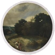 A Landscape With Tobias And The Angel Round Beach Towel
