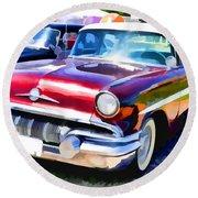 A Line Of Classic Antique Cars 9 Round Beach Towel