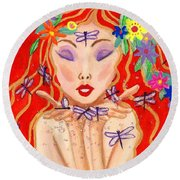 A Little Dragonfly Spell Round Beach Towel