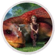 A Little Girl And Her Dragon Round Beach Towel