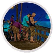 A Little Night Fishing At The Rodanthe Pier 2 Round Beach Towel