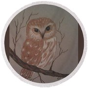 A Little Owl Round Beach Towel by Ginny Youngblood
