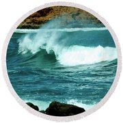 A Little Wave Action Round Beach Towel