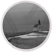 A Long Cold Road To Salvation Round Beach Towel