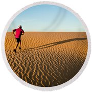 A Long Desert Run Round Beach Towel