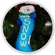 A Long Snow Ornament- Vertical Round Beach Towel