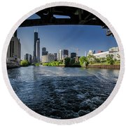 A Look At The Chicago Skyline From Under The Roosevelt Road Bridge  Round Beach Towel