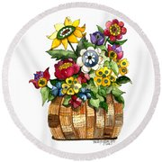 A Lovely Basket Of Flowers Round Beach Towel