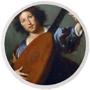 A Lute-player Round Beach Towel