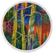 A Magical Forest Round Beach Towel