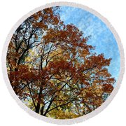 A Magnificent Fall Day Round Beach Towel