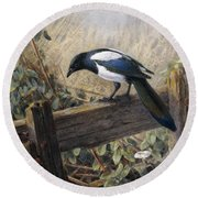 A Magpie Observing Field Mice Round Beach Towel