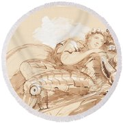 A Maiden Embraced By A Knight In Armor Round Beach Towel
